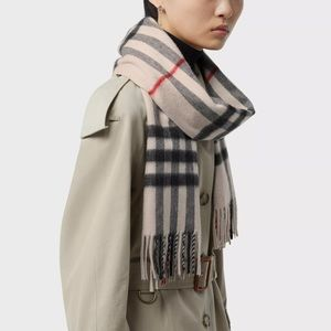 Burberry Cashmere Classic Check Fringe Scarf